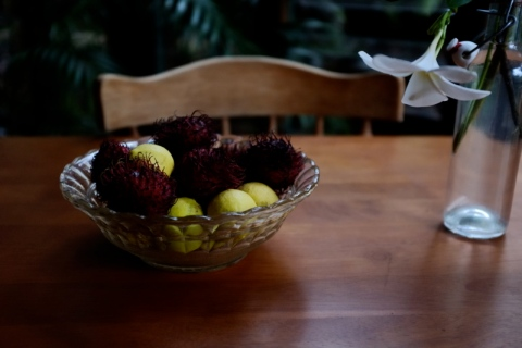 fruit bowl and flowers