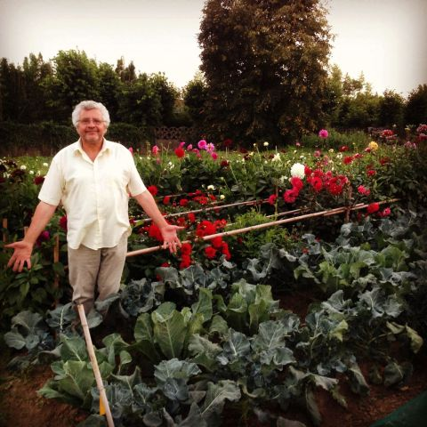 My uncle in his garden